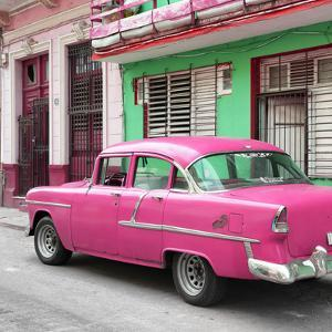 Cuba Fuerte Collection SQ - Old Cuban Pink Car by Philippe Hugonnard