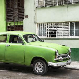 Cuba Fuerte Collection SQ - Old Green Car in the Streets of Havana by Philippe Hugonnard