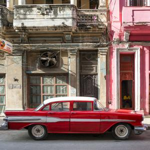 Cuba Fuerte Collection SQ - Old Red Car in Havana by Philippe Hugonnard
