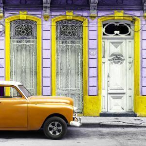 Cuba Fuerte Collection SQ - Orange Vintage Car in Havana II by Philippe Hugonnard