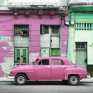Cuba Fuerte Collection SQ - Pink Vintage American Car in Havana by Philippe Hugonnard