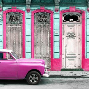 Cuba Fuerte Collection SQ - Pink Vintage Car in Havana II by Philippe Hugonnard