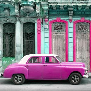 Cuba Fuerte Collection SQ - Pink Vintage Car in Havana by Philippe Hugonnard