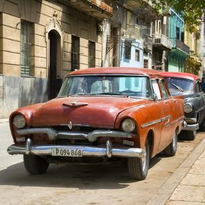 Cuba Fuerte Collection SQ - Red Classic Car in Havana by Philippe Hugonnard