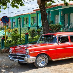Cuba Fuerte Collection SQ - Red Classic Car in Vinales by Philippe Hugonnard