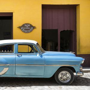 Cuba Fuerte Collection SQ - Retro Blue Car by Philippe Hugonnard