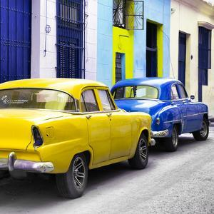 Cuba Fuerte Collection SQ - Two Classic American Cars - Yellow & Blue by Philippe Hugonnard