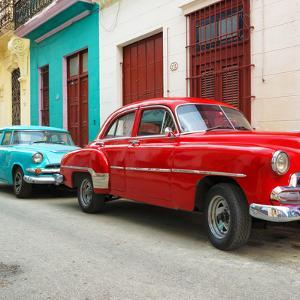 Cuba Fuerte Collection SQ - Two Classic Red and Turquoise Cars by Philippe Hugonnard