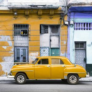Cuba Fuerte Collection SQ - Yellow Vintage American Car in Havana by Philippe Hugonnard