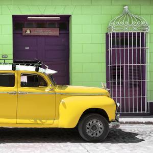 Cuba Fuerte Collection SQ - Yellow Vintage Car by Philippe Hugonnard