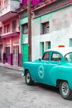 Cuba Fuerte Collection - Turquoise Taxi Car in Havana by Philippe Hugonnard