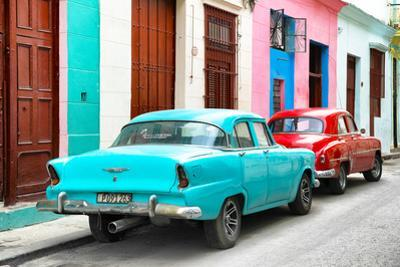 Cuba Fuerte Collection - Two Classic American Cars - Turquoise & Red by Philippe Hugonnard