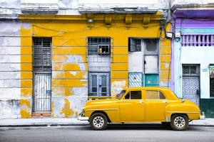 Cuba Fuerte Collection - Yellow Vintage American Car in Havana by Philippe Hugonnard