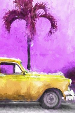 Cuba Painting - Dark Yellow Chevy by Philippe Hugonnard