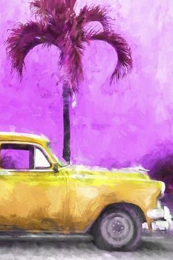 Cuba Painting - Dark Yellow Chevy by Philippe Hugonnard