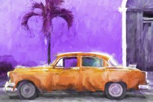 Cuba Painting - Orange Chevrolet by Philippe Hugonnard