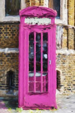 Dark Pink Phone Booth - In the Style of Oil Painting by Philippe Hugonnard