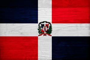 Dominican Republic Flag Design with Wood Patterning - Flags of the World Series by Philippe Hugonnard