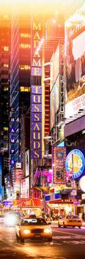 Door Posters - NYC Urban Scene with Yellow Taxis by Night - 42nd Street and Times Square by Philippe Hugonnard