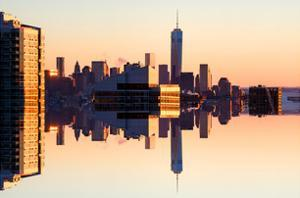 Double Sided Series - NYC Cityscape with the One World Trade Center (1WTC) at Sunset by Philippe Hugonnard