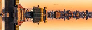 Double Sided Series - Panoramic Cityscape of Manhattan at Sunset by Philippe Hugonnard