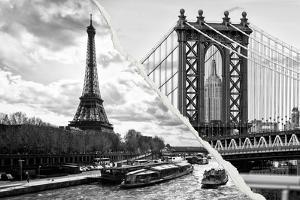 Dual Torn Posters Series - Paris - New York by Philippe Hugonnard