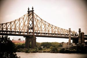 Ed Koch Queensboro Bridge (Queensbridge), Long Island City, New York, Vintage, White Frame by Philippe Hugonnard