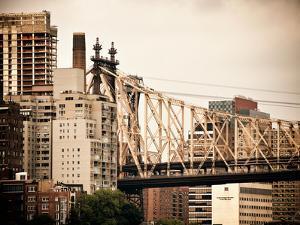 Ed Koch Queensboro Bridge, Roosevelt Island Tram Station, Manhattan, New York, Vintage by Philippe Hugonnard