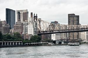 Ed Koch Queensboro Bridge, Sutton Place and Buildings, East River, Manhattan, New York, White Frame by Philippe Hugonnard
