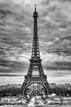 Eiffel Tower, Paris, France - White Frame and Full Format - Black and White Photography by Philippe Hugonnard