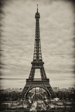 Eiffel Tower, Paris, France - White Frame and Full Format - Sepia - Tone Vintique Photography by Philippe Hugonnard