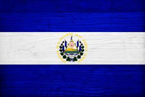 El Salvador Flag Design with Wood Patterning - Flags of the World Series by Philippe Hugonnard