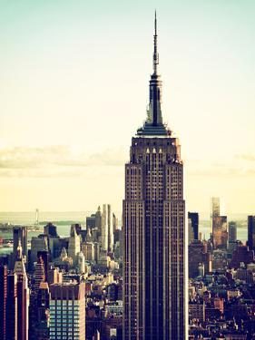 Empire State Building from Rockefeller Center at Dusk, Manhattan, New York City, US, Vintage by Philippe Hugonnard