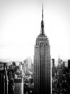 Empire State Building from Rockefeller Center at Dusk, Manhattan, NYC, US, Old Black and White by Philippe Hugonnard