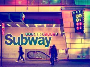 Entrance of a Subway Station in Times Square - Urban Street Scene by Night - Manhattan - New York by Philippe Hugonnard