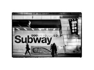 Entrance of a Subway Station in Times Square - Urban Street Scene by Night - Manhattan by Philippe Hugonnard