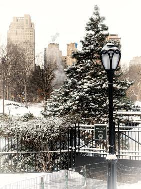 Entrance View to the Wollman Skating Rink of Central Park with a Snow Lamppost by Philippe Hugonnard