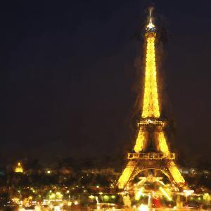 Famous Eiffel Tower at Night II by Philippe Hugonnard