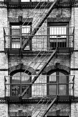 Fire Escape, Stairway on Manhattan Building, New York, White Frame, Full Size Photography by Philippe Hugonnard