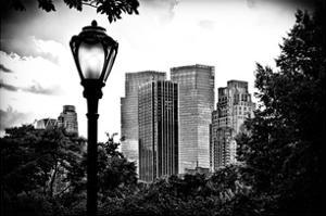 Floor Lamp in Central Park Overlooking Buildings, Manhattan, New York, White Frame by Philippe Hugonnard