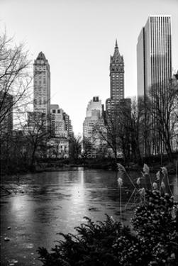 """Frozen Lake """"The Pond"""" in Central Park with 5th Avenue Buildings by Philippe Hugonnard"""