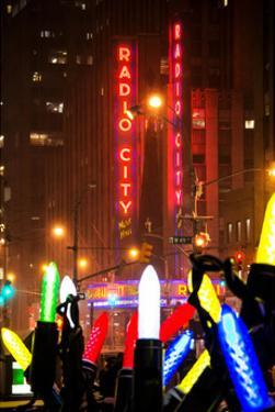 Giant Christmas wreath in front of the Radio City Music Hall on a Winter Night by Philippe Hugonnard