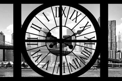 Giant Clock Window - City View with Brooklyn Bridge - New York City III by Philippe Hugonnard