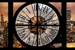 Giant Clock Window - Night View on the New York City by Philippe Hugonnard