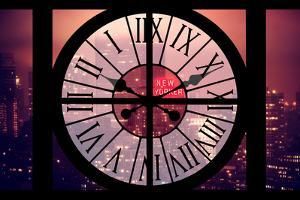 Giant Clock Window - Night View on the New Yorker with Pink Foggy by Philippe Hugonnard