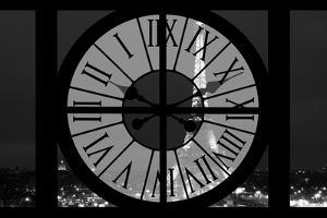 Giant Clock Window - View of the Eiffel Tower by Night - Paris III by Philippe Hugonnard