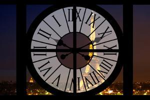 Giant Clock Window - View of the Eiffel Tower by Night - Paris V by Philippe Hugonnard