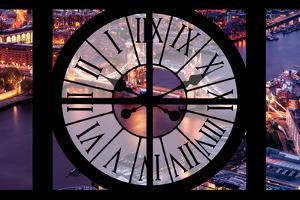 Giant Clock Window - View on the City of London with the Tower Bridge by Night III by Philippe Hugonnard
