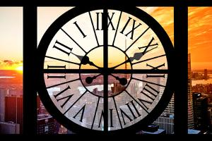 Giant Clock Window - View on the New York City at Sunset II by Philippe Hugonnard