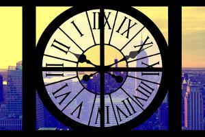 Giant Clock Window - View on the New York City - Yellow Sunset by Philippe Hugonnard